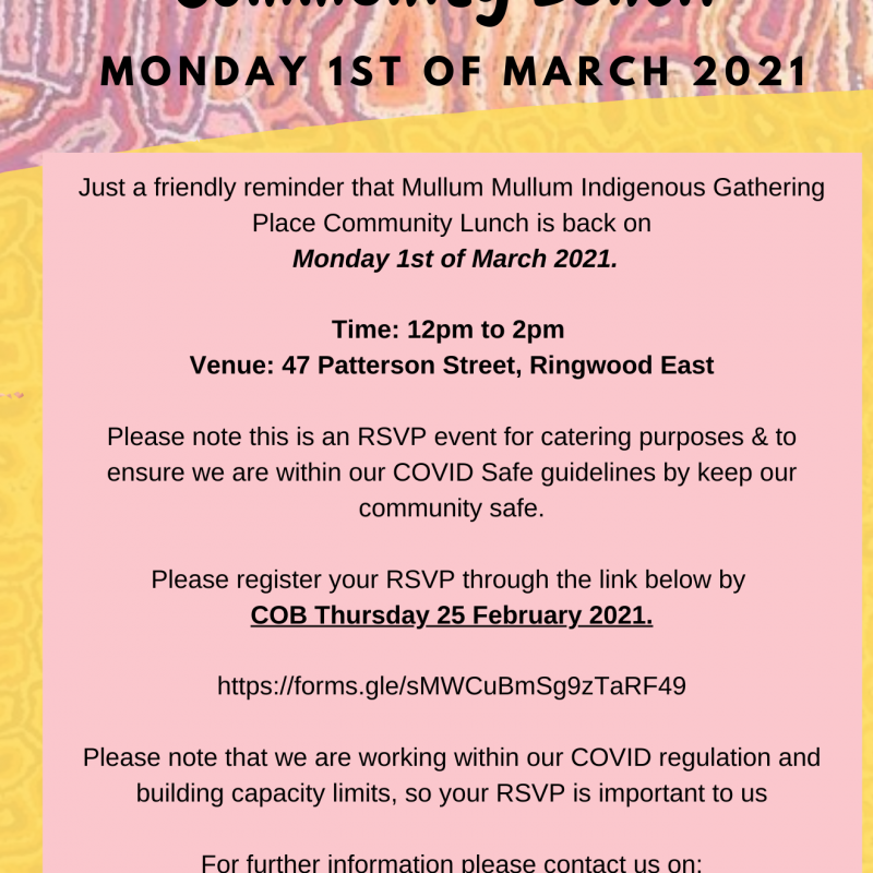 MMIGP Community Lunch - 1 March 2021